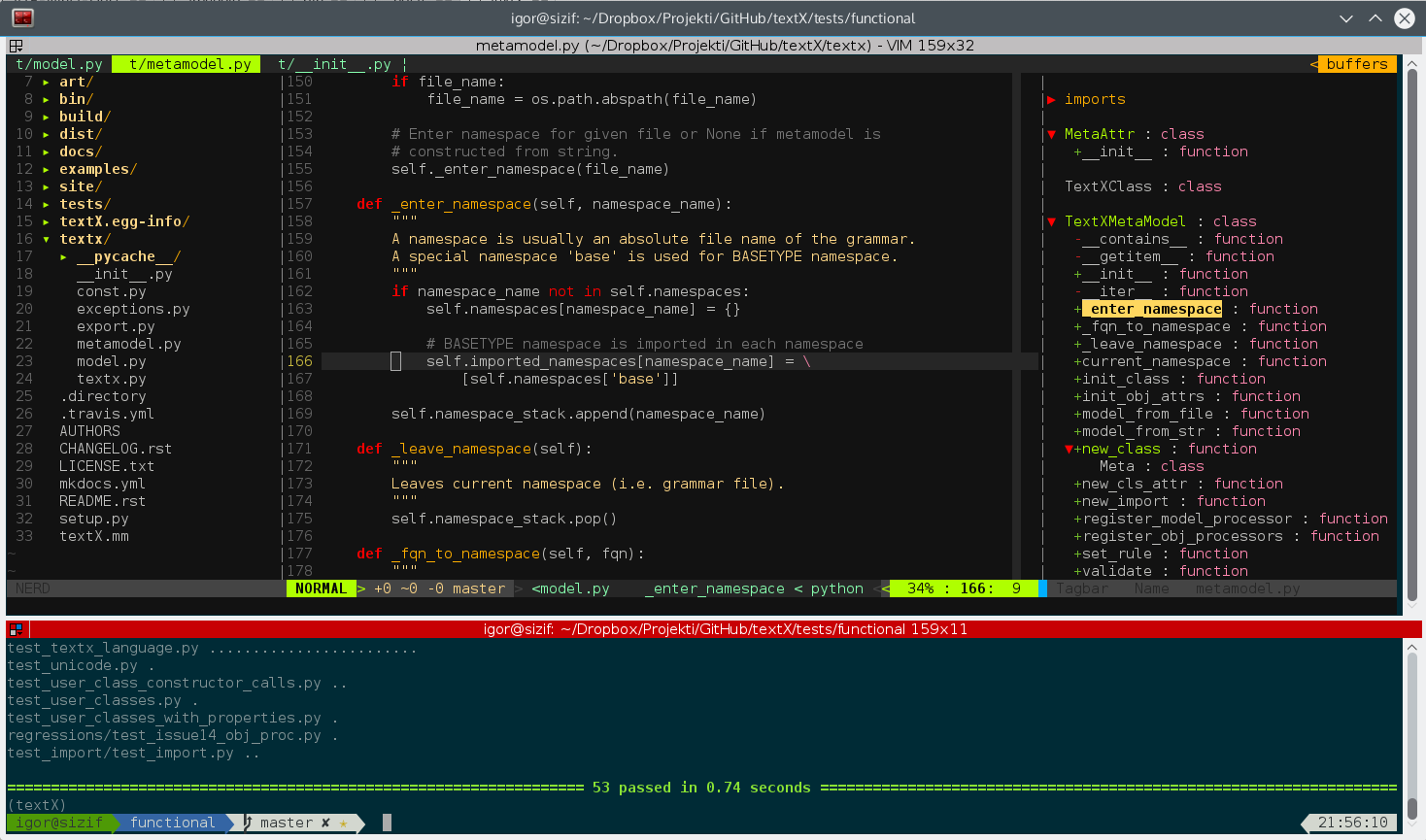 Terminator + vim in action